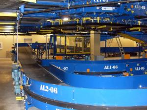 Baggage sorting area conveyors